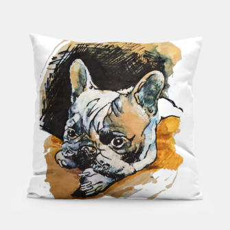 Thumbnail image of french bulldog puppy Yulia A Korneva coffee and ink Pillow, Live Heroes