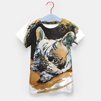 Thumbnail image of french bulldog puppy Yulia A Korneva coffee and ink Kid's t-shirt, Live Heroes
