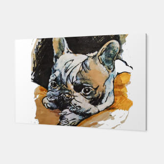 Thumbnail image of french bulldog puppy Yulia A Korneva coffee and ink Canvas, Live Heroes
