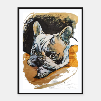 Thumbnail image of french bulldog puppy Yulia A Korneva coffee and ink Framed poster, Live Heroes