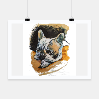 Thumbnail image of french bulldog puppy Yulia A Korneva coffee and ink Poster, Live Heroes