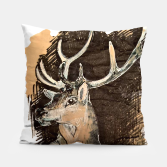 Thumbnail image of Deer coffee and ink Yulia A Korneva Pillow, Live Heroes