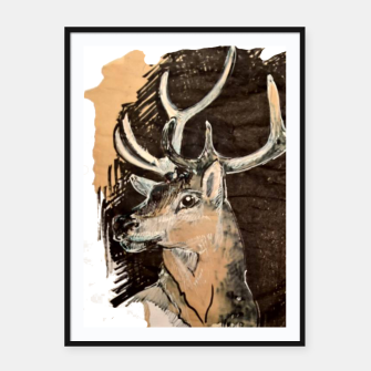 Thumbnail image of Deer coffee and ink Yulia A Korneva Framed poster, Live Heroes
