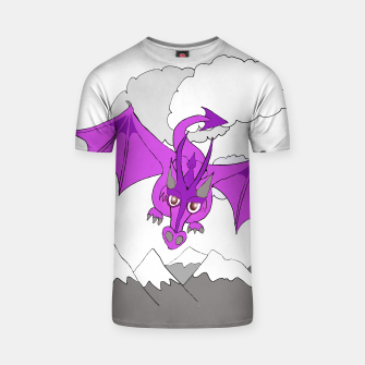 Miniatur purple dragon flying over mountains t shirt, Live Heroes