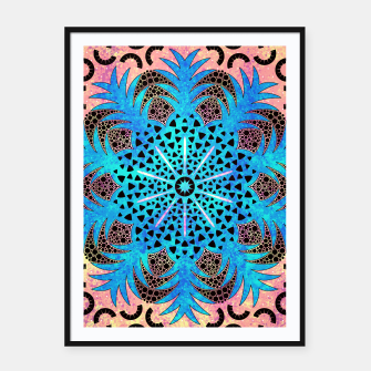Thumbnail image of Blissful Pineapple | Vibrant Abstract Flower And Pineapple Mandala Pattern Design Framed poster, Live Heroes