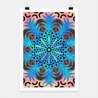 Thumbnail image of Blissful Pineapple | Vibrant Abstract Flower And Pineapple Mandala Pattern Design Poster, Live Heroes