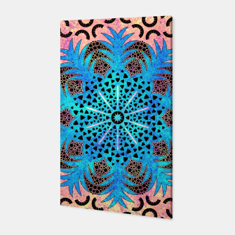 Thumbnail image of Blissful Pineapple | Vibrant Abstract Flower And Pineapple Mandala Pattern Design Canvas, Live Heroes