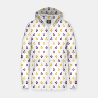 Thumbnail image of Purple and yellow raindrops pattern Zip up hoodie, Live Heroes