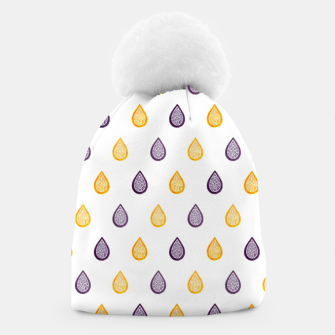 Thumbnail image of Purple and yellow raindrops pattern Beanie, Live Heroes