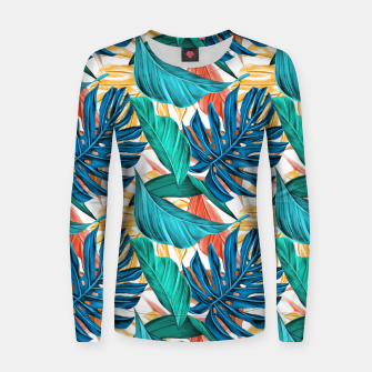 Thumbnail image of Colorful Tropical Jungle Leaves Women Sweater, Live Heroes