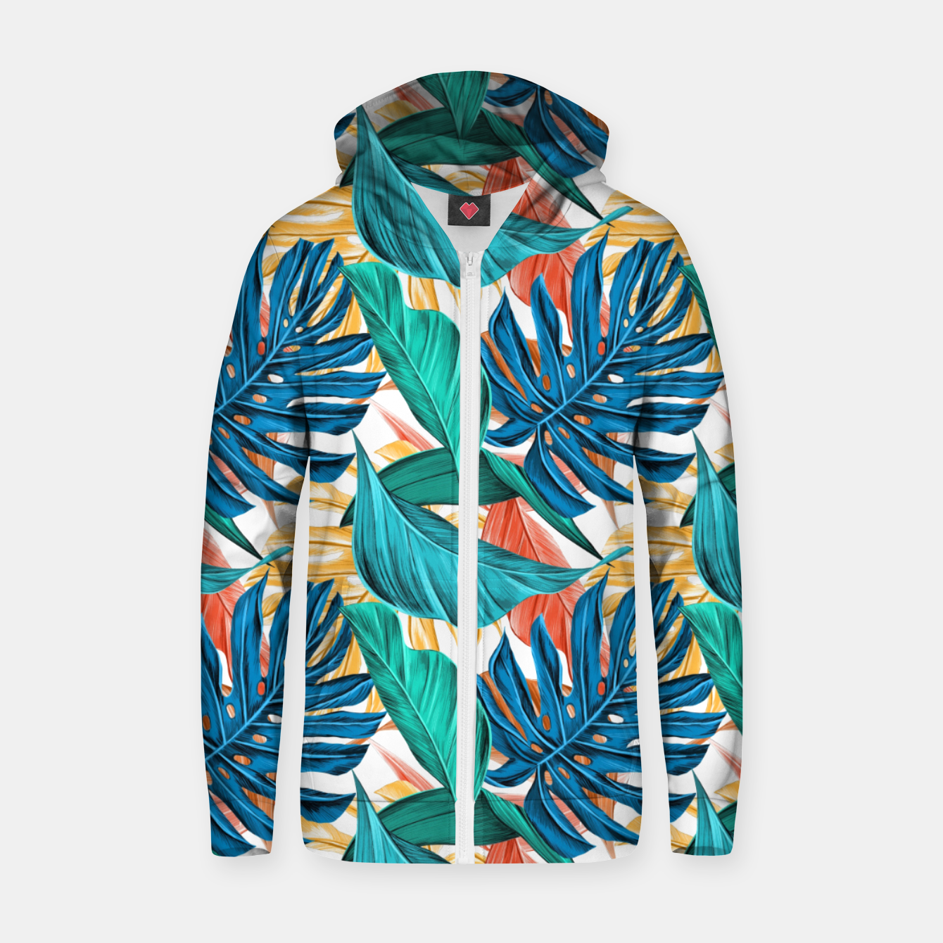 Image of Colorful Tropical Jungle Leaves Zip up hoodie - Live Heroes
