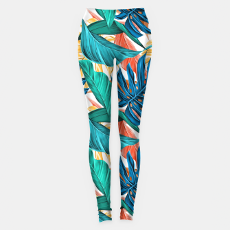 Thumbnail image of Colorful Tropical Jungle Leaves Leggings, Live Heroes