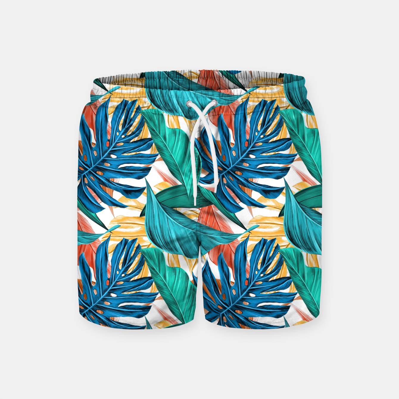 Image of Colorful Tropical Jungle Leaves Swim Shorts - Live Heroes