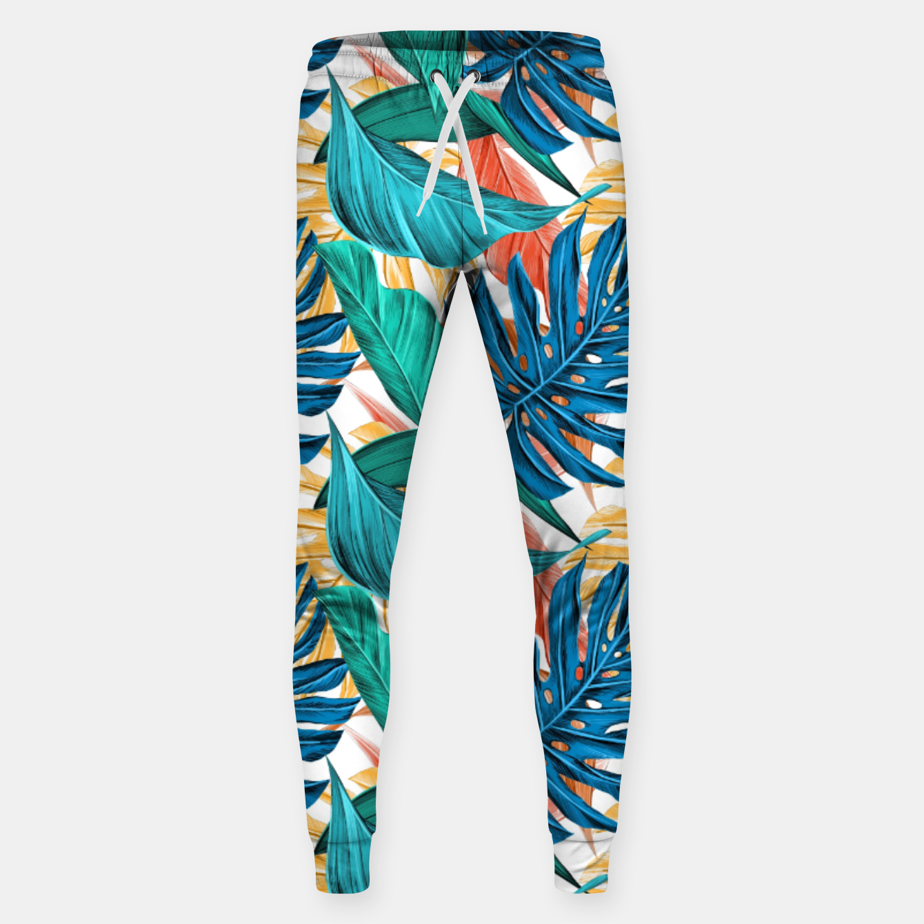 Image of Colorful Tropical Jungle Leaves Sweatpants - Live Heroes