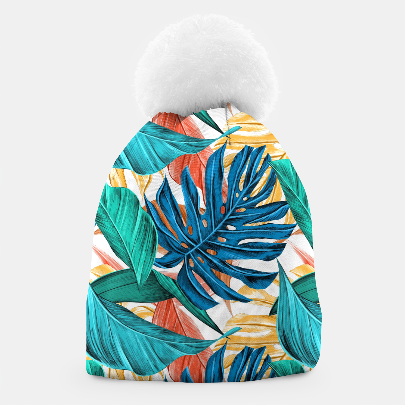 Image of Colorful Tropical Jungle Leaves Beanie - Live Heroes