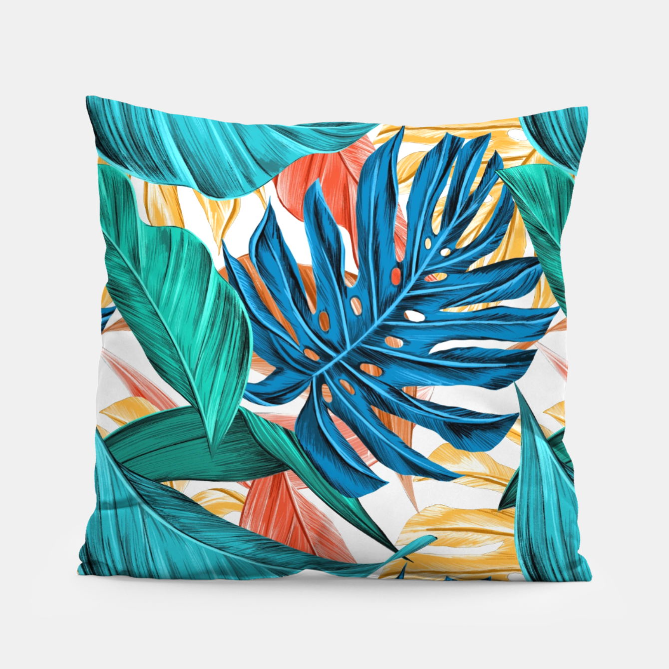 Image of Colorful Tropical Jungle Leaves Pillow - Live Heroes
