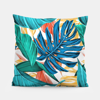 Thumbnail image of Colorful Tropical Jungle Leaves Pillow, Live Heroes