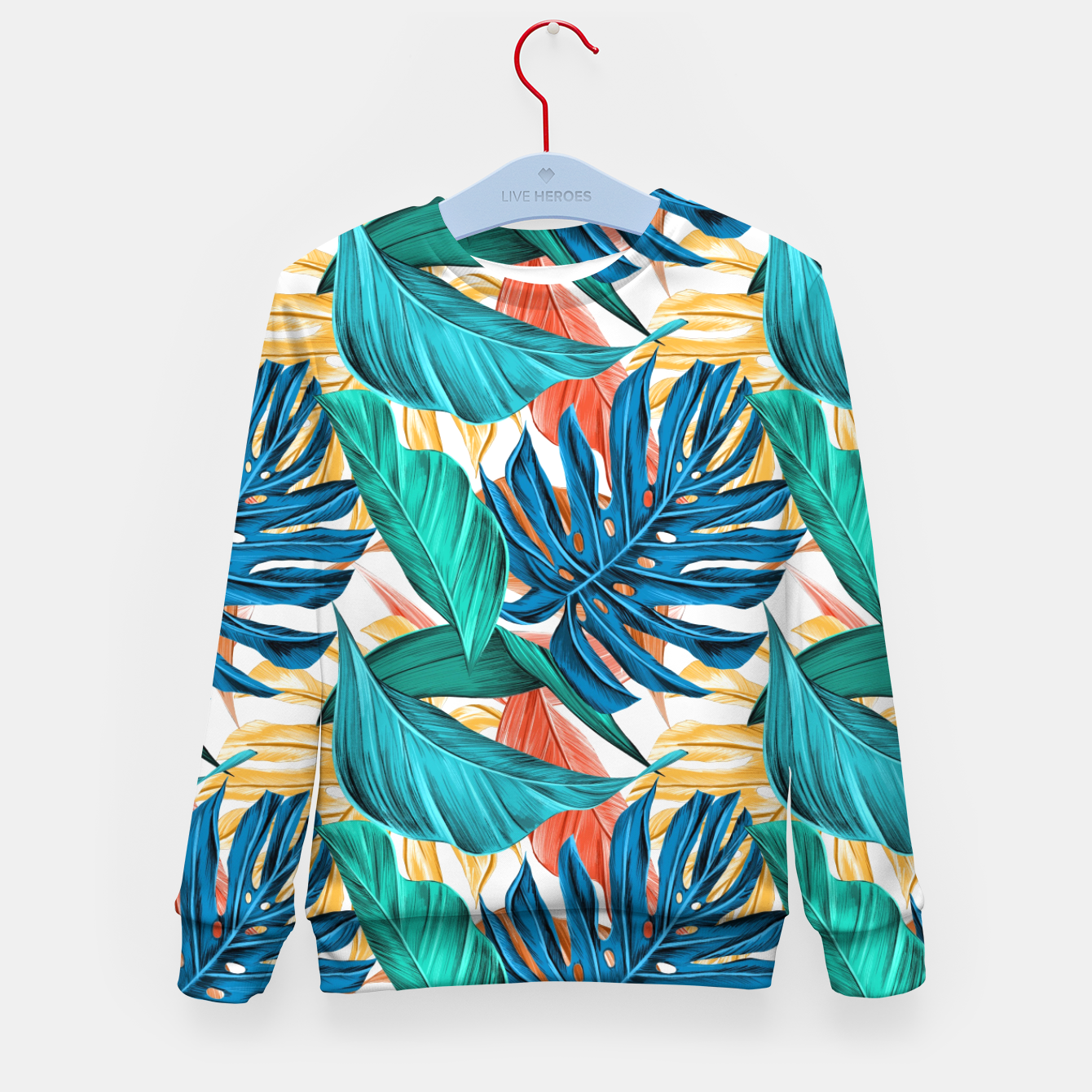 Image of Colorful Tropical Jungle Leaves Kid's sweater - Live Heroes