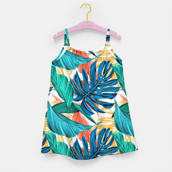 Colorful Tropical Jungle Leaves Girl's dress thumbnail image