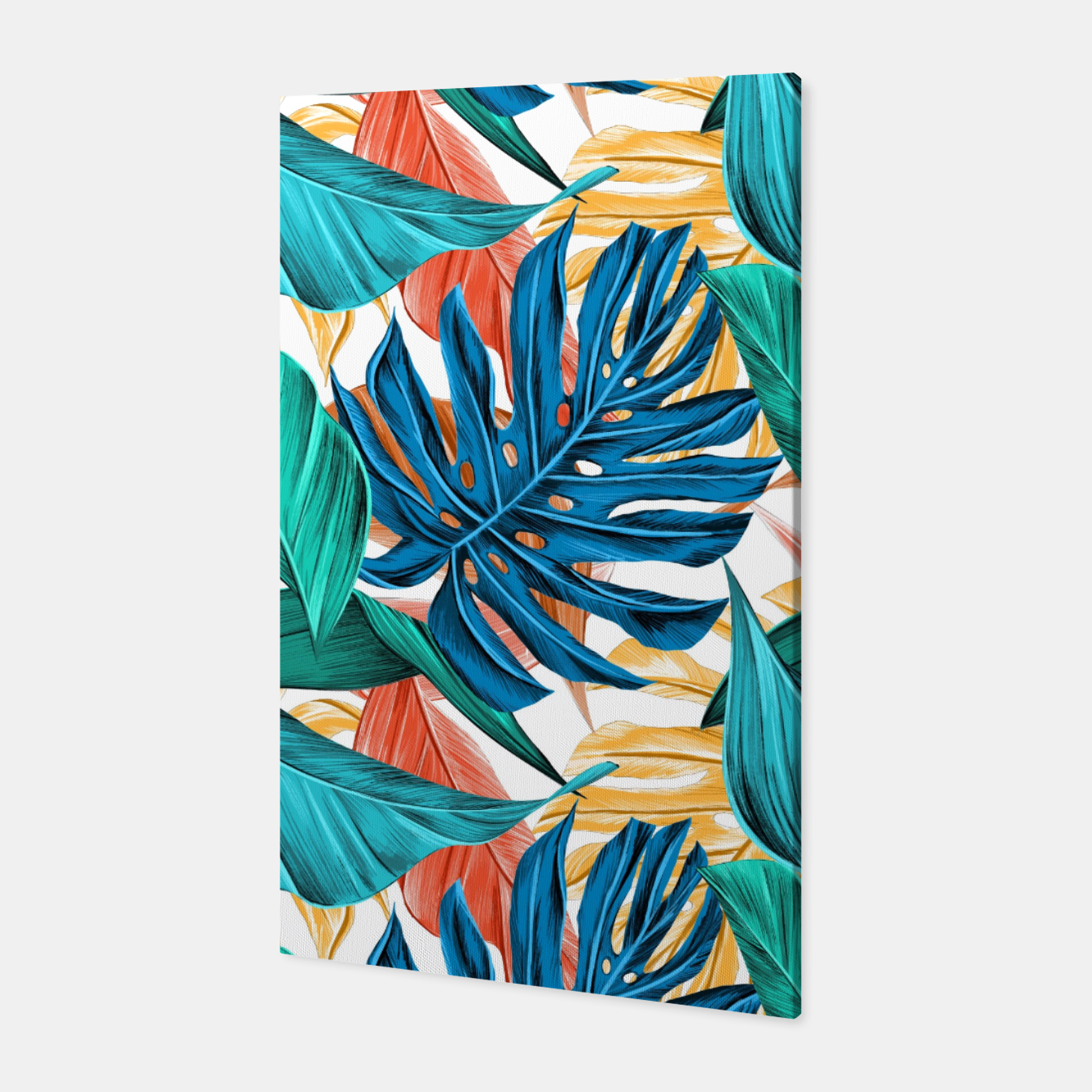 Image of Colorful Tropical Jungle Leaves Canvas - Live Heroes