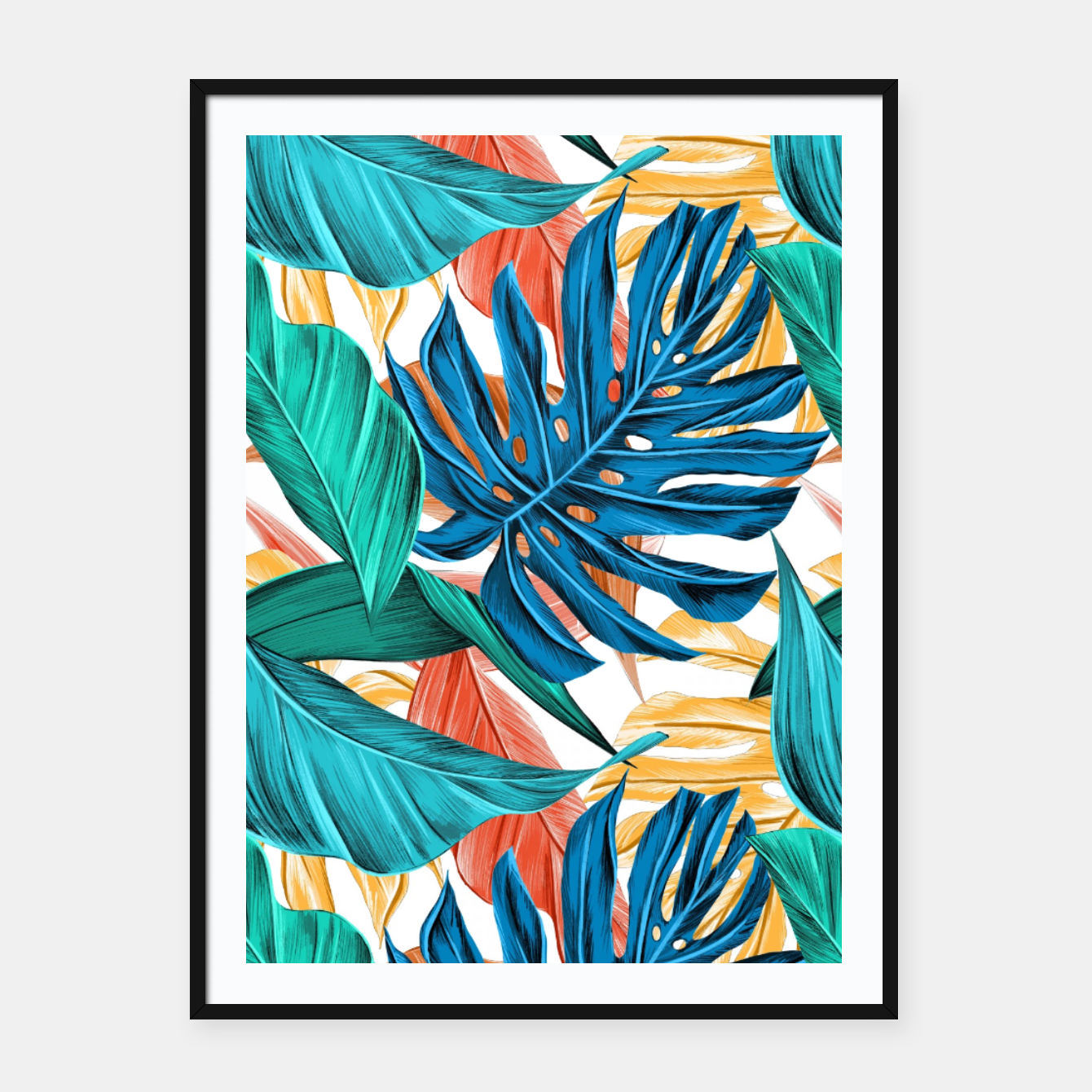 Image of Colorful Tropical Jungle Leaves Framed poster - Live Heroes