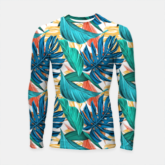 Thumbnail image of Colorful Tropical Jungle Leaves Longsleeve rashguard , Live Heroes