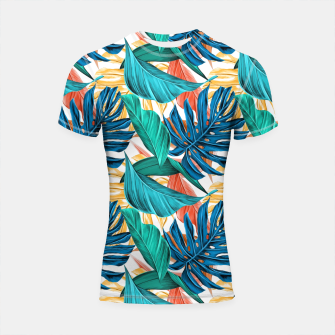 Thumbnail image of Colorful Tropical Jungle Leaves Shortsleeve rashguard, Live Heroes
