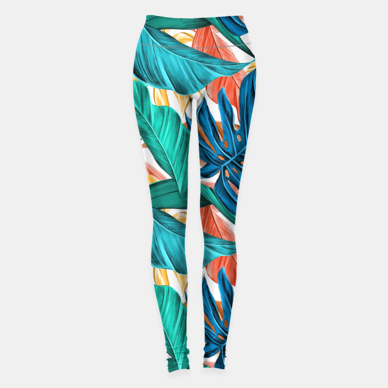 Image of Colorful Tropical Jungle Leaves Leggings - Live Heroes