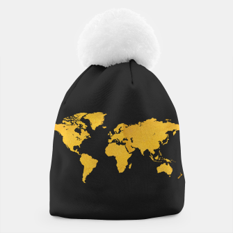 Golden World Map - Black Background Beanie obraz miniatury