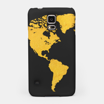 Golden World Map - Black Background Samsung Case obraz miniatury