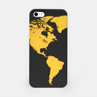 Golden World Map - Black Background iPhone Case obraz miniatury