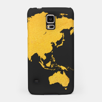 Miniaturka Golden World Map - Black Background Samsung Case, Live Heroes