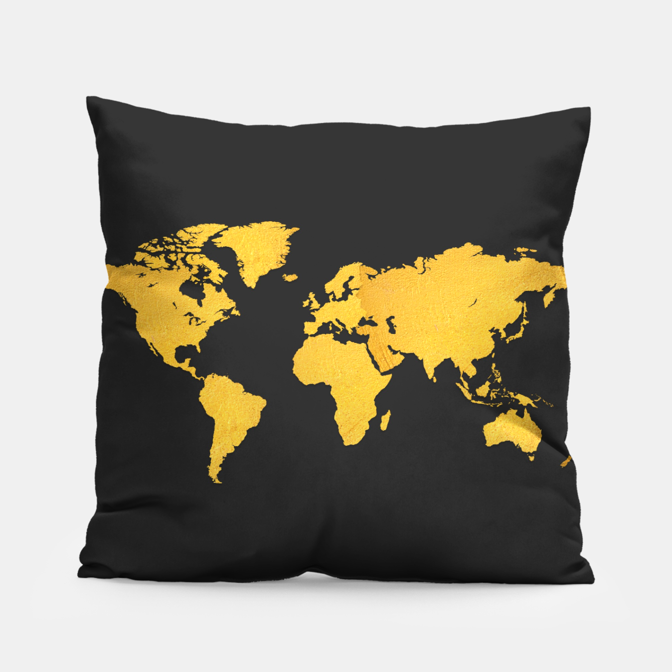 Zdjęcie Golden World Map - Black Background Pillow - Live Heroes