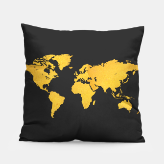 Golden World Map - Black Background Pillow obraz miniatury