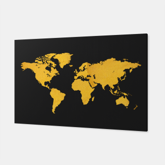 Golden World Map - Black Background Canvas obraz miniatury