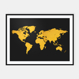 Golden World Map - Black Background Framed poster obraz miniatury