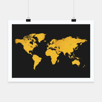Golden World Map - Black Background Poster obraz miniatury