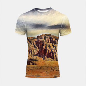 Thumbnail image of mountains on desert Rashguard krótki rękaw, Live Heroes