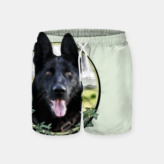 Thumbnail image of Black German Shepherd - Graphic Style Badeshorts, Live Heroes