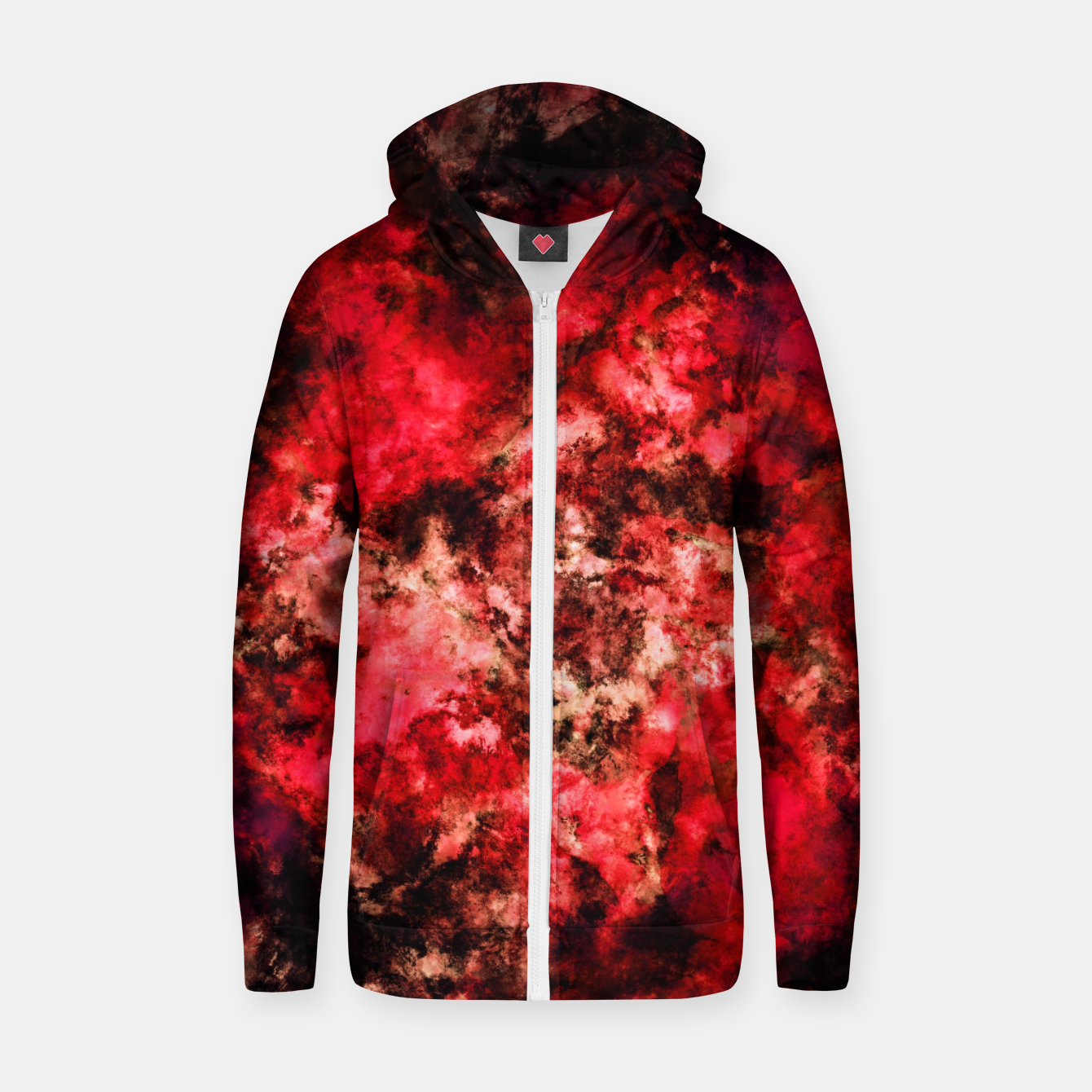 Image of Red burst Zip up hoodie - Live Heroes