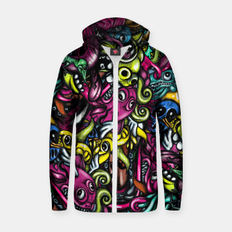Thumbnail image of Doodle Pattern Strong Zip up hoodie, Live Heroes