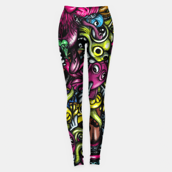 Thumbnail image of Doodle Pattern Strong Leggings, Live Heroes