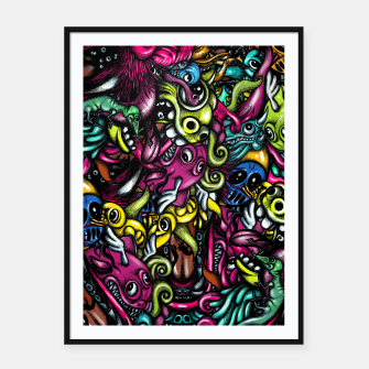 Thumbnail image of Doodle Pattern Strong Framed poster, Live Heroes