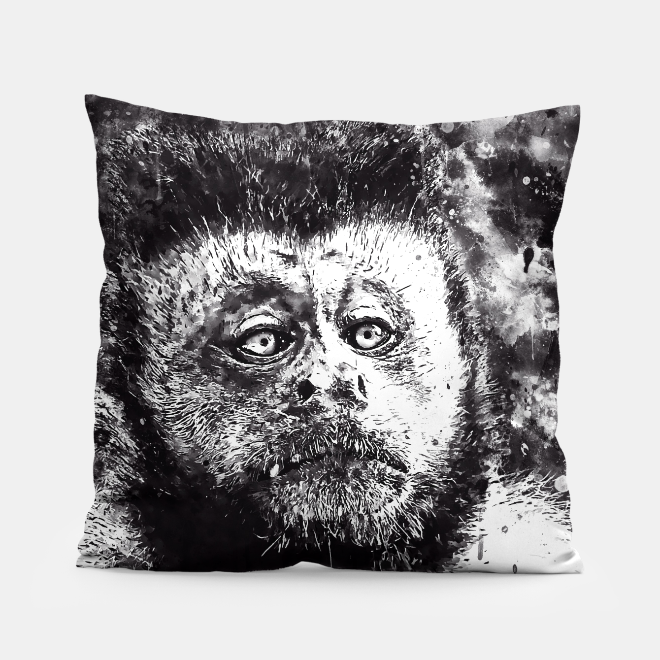 Image of bored monkey wsbw Pillow - Live Heroes