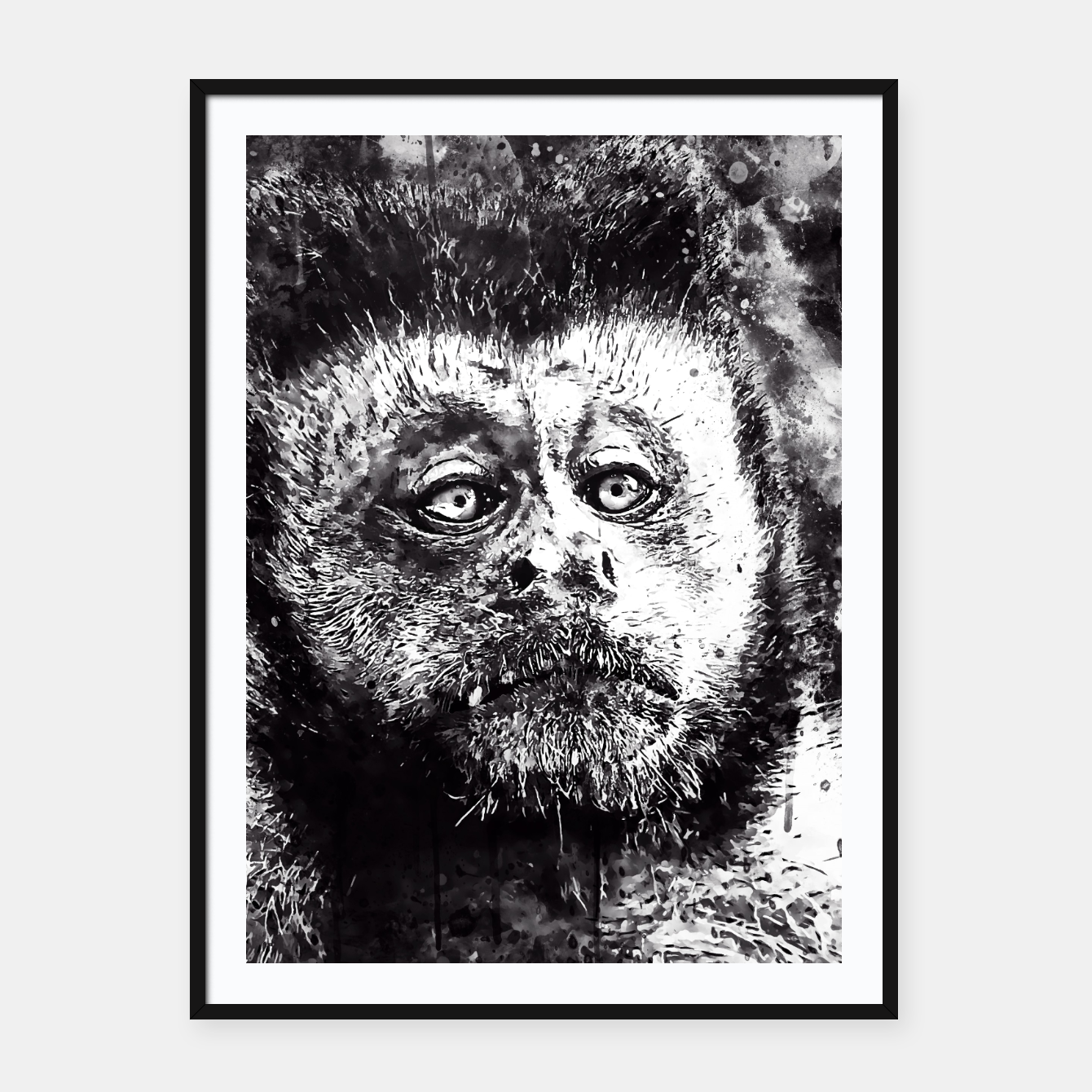 Image of bored monkey wsbw Framed poster - Live Heroes