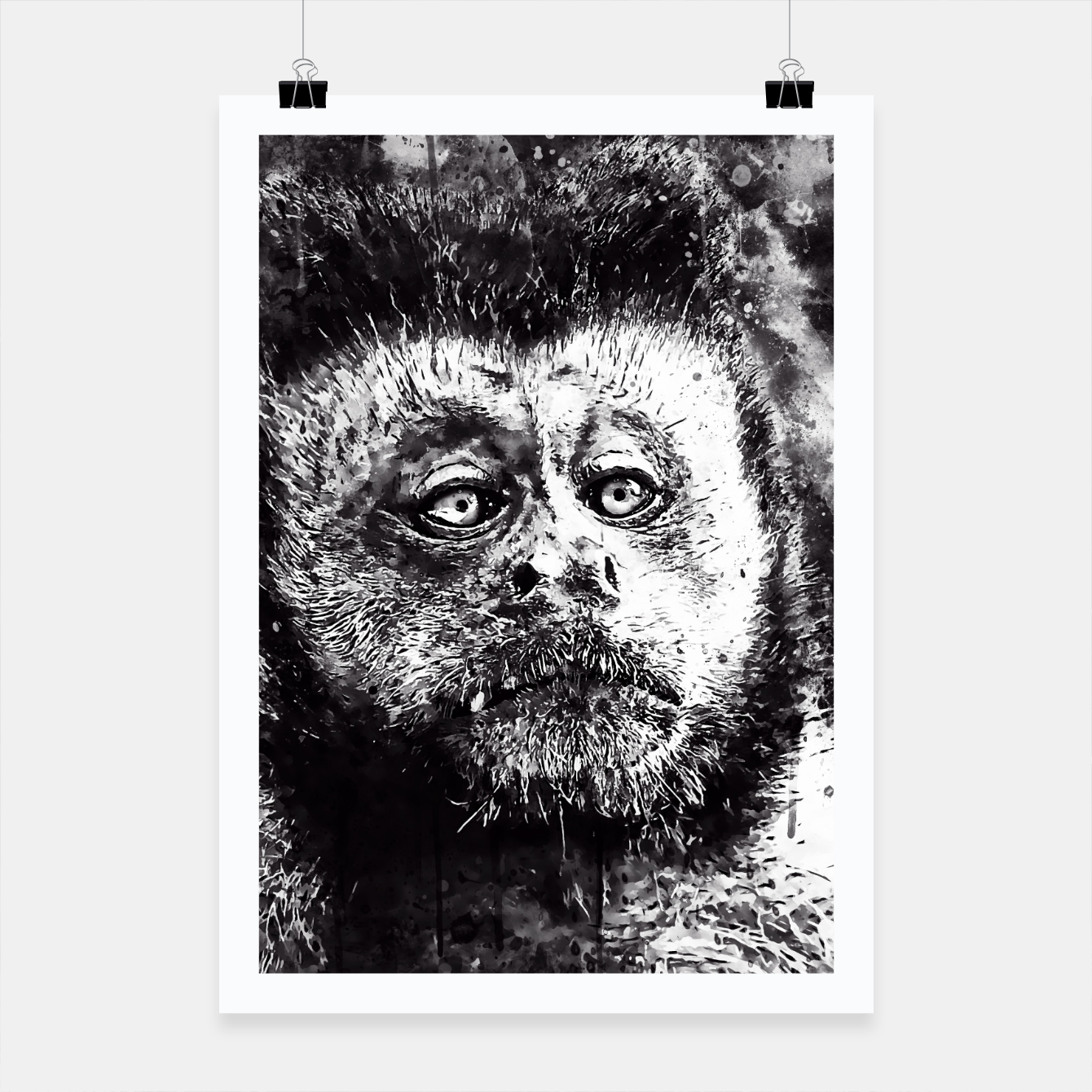 Image of bored monkey wsbw Poster - Live Heroes
