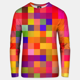 Miniatur geometric square pixel pattern abstract in red pink yellow blue Unisex sweater, Live Heroes