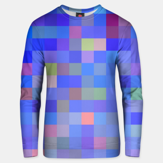 Miniatur geometric square pixel pattern abstract in blue and pink Unisex sweater, Live Heroes