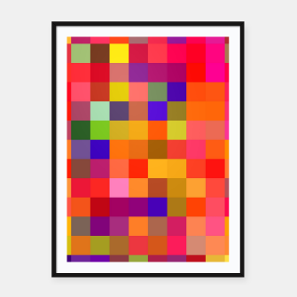 Imagen en miniatura de geometric square pixel pattern abstract in red pink yellow blue Framed poster, Live Heroes