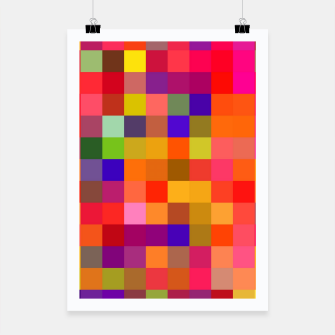 Imagen en miniatura de geometric square pixel pattern abstract in red pink yellow blue Poster, Live Heroes